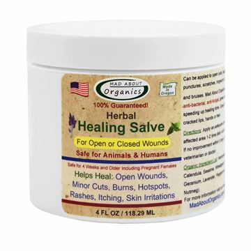 Picture of Mad About Organics All Natural Herbal Skin Wound Healing Salve for all Pets 4 OZ