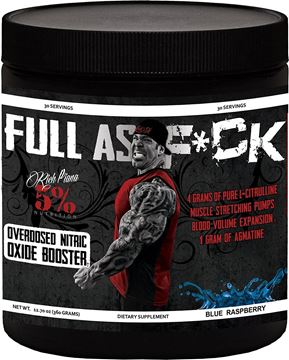 Picture of Rich Piana  5% Nutrition  FULL AS F*CK  NITRIC OXIDE BOOSTER ,Blue Raspberry , 30 Servings . 12.70 oz