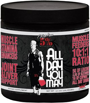 Picture of Rich Piana 5% Nutrition All Day You May BCAA ,Watermelon,  30 Servings, 17.20 oz