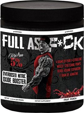 Picture of Rich Piana  5% Nutrition  FULL AS F*CK  NITRIC OXIDE BOOSTER, Fruit Punch , 30 Servings . 12.70 oz