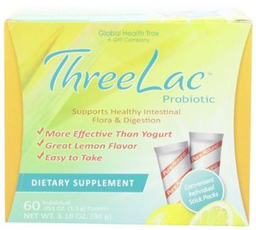 Picture of Threelac Probiotic Dietary Supplement, Natural Lemon Flavor, Includes 60 .053-Ounce Packets