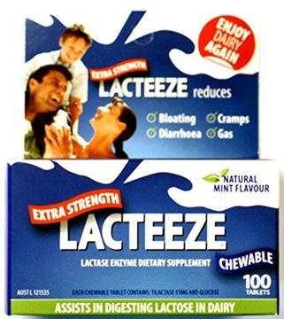 Picture of Lacteeze Extra Strength 100 chewable tablets Mint