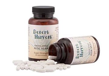 Picture of Desert Harvest Super-Strength 100% Organic Aloe Vera Supplement (90 capsules) 600 milligrams with 200 milligrams active ingredients each. Interstitial Cystitis & Bladder Pain Syndrome relief.