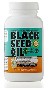 Picture of Premium Black Seed Oil Softgel Capsules (NON-GMO) Made from Cold Pressed Nigella Sativa Producing Pure Black Cumin Seed Oil - Made in the USA - 90 Capsules (500mg each) by Sweet Sunnah