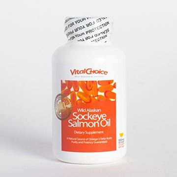 Picture of Vital Choice Wild Sockeye Salmon Oil, 1000 mg with Organic Lemon, 180 Count Bottles