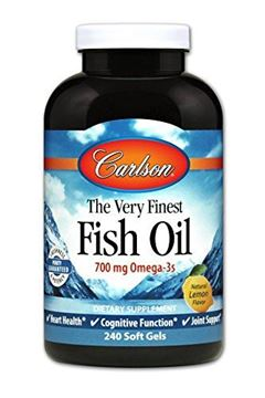 Picture of Carlson The Very Finest Fish Oil, Lemon, Norwegian, 700 mg Omega-3s, 240 Soft Gels