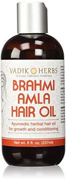 Picture of Brahmi Amla Hair Oil (8 oz) by Vadik Herbs | Ayurvedic herbal hair growth oil and hair conditioning oil | Great for hair loss, balding, thinning of hair, for beard growth, herbal scalp treatment