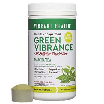 Picture of Vibrant Health - Green Vibrance, Plant-Based Superfood to Support Immunity, Digestion, and Energy, 25 Billion Probiotics, Gluten Free, Non-GMO, Vegetarian, Matcha Tea, 25 Servings