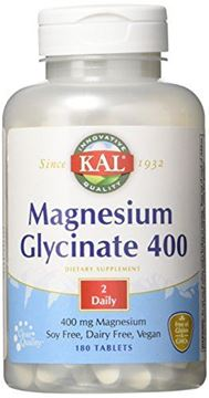 Picture of KAL Magnesium Glycinate 400 | Vegan, Chelated, Non-GMO, Soy, Dairy, and Gluten Free | 90 Servings, 180 Tablets