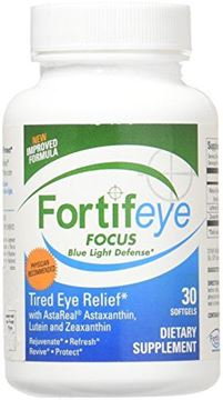 Picture of Fortifeye Focus Eye Care Supplement, Complex Mix of Macular Carotenoids Including Astaxanthin, Lutein, and Zeaxanthin - 30 Softgel Capsules