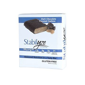 Picture of Stabilyze 2 Box Nutrition Bars, Gluten Free Protein Bars, Dark Chocolate Coconut Cashew, 1.8oz Bars, 24 count