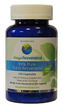Picture of Mega Resveratrol, Pharmaceutical Grade, 99% Pure Micronized Trans-Resveratrol, 120 vegetarian capsules, 500 mg per capsule. Purity certified. Absolutely no excipients (aka Inactive Ingredients) added