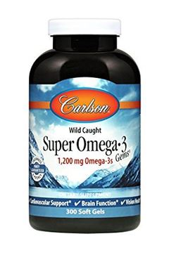 Picture of Carlson - Super Omega-3 Gems, 1200 mg Omega-3s, Cardiovascular, Brain & Vision Support, Wild Caught, 300 soft gels