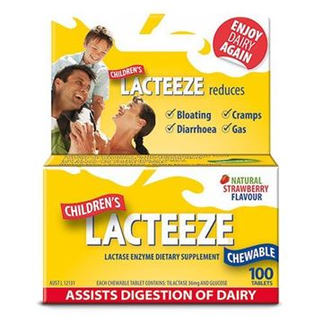 Picture of Lacteeze Childrens chewable tablets Strawberry (100 Tablets))