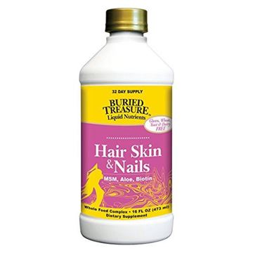 Picture of Buried Treasure Hair, Skin and Nails with MSM Biotin Aloe Vera plus Vitamins and Minerals in a High Potency Liquid Whole Food Complex for Fuller Hair, Stronger Nails and Clearer Skin 16 oz