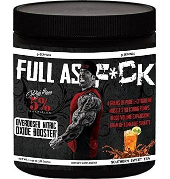 Picture of Rich Piana 5% Nutrition FULL AS F*CK Overdosed Nitric Oxide Booster (Southern Sweet Tea) 12.70oz (360 Grams) 30 Servings