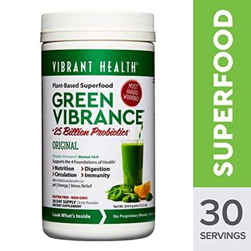"Picture of Vibrant Health - Green Vibrance""	Plant-Based Superfood to Support Immunity	Digestion	and Energy with Over 70 Ingredients	25 Billion Probiotics	Gluten Free Non-GMO	Vegetarian	"" 30 Servings"