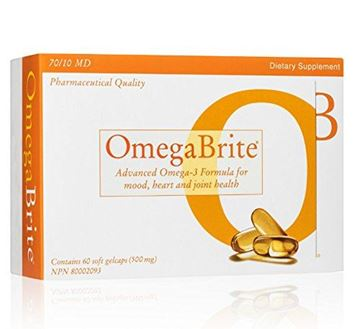 Picture of OmegaBrite, 60 soft gelcaps (500mg) | Highest Purity Omega-3 Fish Oil Vitamins | Advanced Omega-3 Formula for Mood, Heart, and Joint Health