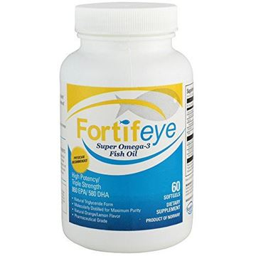 Picture of Fortifeye Vitamins Super Omega 3 Fish Oil, Natural Triglyceride Form Omega-3 Supplement, Triple Strength 860 EPA + 580 DHA Per Serving, 60 Softgel Capsules.