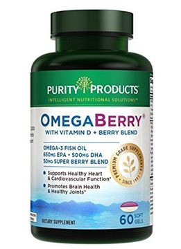 Picture of OmegaBerry Fish Oil with Vitamin D3 & Organic Acai - 60 Soft Gels - 30 Day Supply from Purity Products