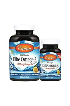 Picture of Carlson Elite Omega-3 Gems, Norwegian, 1,600 mg Omega-3s, 90 + 30 Soft Gels