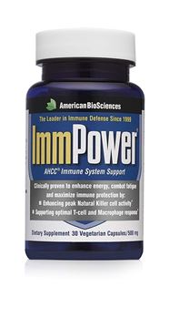 Picture of American BioSciences ImmPower AHCC Supplement, Enhanced Immune Support, Natural Killer Cell Activity and Cytokine Production, 30 Vegetarian Capsules, 500 milligrams per Capsule