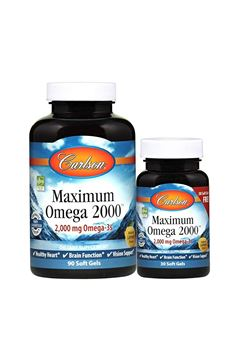 Picture of Carlson - Maximum Omega 2000, 2000 mg Omega-3 Fatty Acids Including EPA and DHA, Wild-Caught, Norwegian Fish Oil Supplement, Sustainably Sourced Fish Oil Capsules, Lemon, 90+30 Softgels