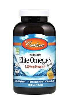 Picture of Carlson Elite Omega-3 Gems, Norwegian, 1, 600 mg Omega-3s, Soft Gels, 180 Count
