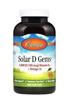 Picture of Carlson - Solar D Gems, 4000 IU Vitamin D3 + Omega-3s, 115 mg Omega-3s, Bone & Immune Health, Lemon, 360 soft gels