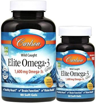 Picture of Carlson - Elite Omega-3 Gems, 1600 mg Omega-3 Fatty Acids including EPA and DHA, Norwegian, Wild-Caught Fish Oil Supplement, Sustainably Sourced Fish Oil Capsules, Lemon, 90+30 Softgels