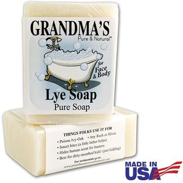 Picture of Grandma's Pure Lye Soap Bar - 6.0 oz Unscented Face & Body Wash Cleans with No Detergens, Dyes & Fragrances - 60018 (2 Pack)
