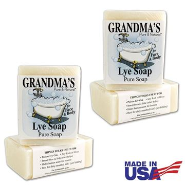 Picture of Grandma's Pure Lye Soap Bar - 6.0 oz Unscented Face & Body Wash Cleans with No Detergens, Dyes & Fragrances - 60018 (4 Pack)