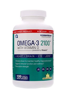 Picture of Ocean Blue - Omega 3 2100 - Olcenic Blend with Vitamin D - 120 Count - Natural Vanilla Flavor - Promotes Heart Health - No Fishy Aftertaste - Healthy Heart and Circulatory - Support Healthy Teeth
