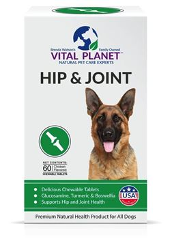 Picture of Vital Planet - Natural Hip and Joint Supplement for Dogs - Potent Herbal Blend with Green Lipped Mussel, MSM and Glucosamine