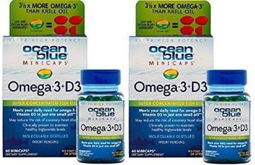 Picture of Ocean Blue Professional Omega 3 MiniCaps with Vitamin D3 | Fish Oil | No Fishy Taste (2-Pack)