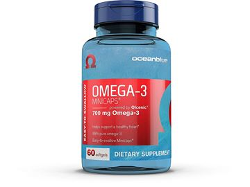 Picture of Ocean Blue Omega 3 Minicaps - 60 Count - 2-Pack - Omega 3 Fish Oil - Easy-to-Swallow Small Size - 1/3 Fat of Most Fish Oil