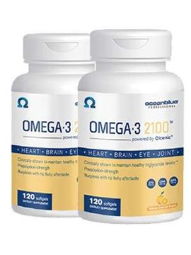Picture of Ocean Blue Omega 3 2100 - Olcenic Blend - 120 Count - 2 Pack - Natural Orange Flavor - No Fishy Aftertaste or Burps - Heart Health - Cholesterol - Eye & Brain Support - Natural Flavor - No Indigestion