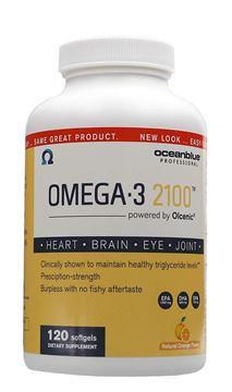 Picture of Ocean Blue Omega 3 2100 - Olcenic Blend - 120 Count - Natural Orange Flavor - no Fishy Aftertaste - Heart Health - Cholesterol - Eye and Brain Support - Natural Flavor - Indigestion or Burps