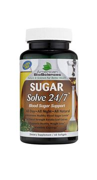 Picture of American BioSciences SUGARSolve 24/7, Healthy Blood Sugar Support, Gluten-Free - 60 Softgel Capsules