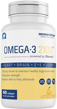 Picture of Ocean Blue Professional Omega-3 2100 Softgels - 60 Count - IFOS Tested and Approved - Pharmaceutical Grade and Triple Tested for Purity & Freshness - Molecular Distilled - Recommended by Cardiologists