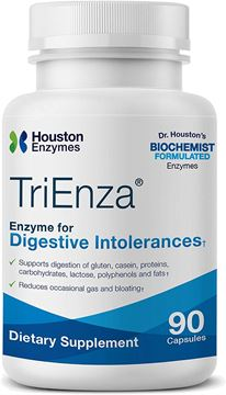 Picture of Houston Enzymes TriEnza – 90 Capsules (45 Doses) | Broad-Spectrum Enzymes for Digestive Intolerances | Supports Digestion of Gluten, Casein, Soy, Proteins, Carbohydrates, Sugars, Fats & Polyphenols